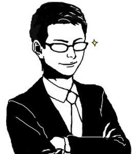腕を組む眼鏡をかけた男性