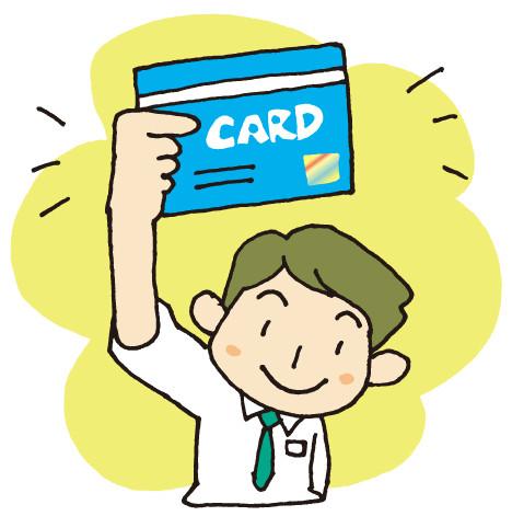 カードを持つ男性